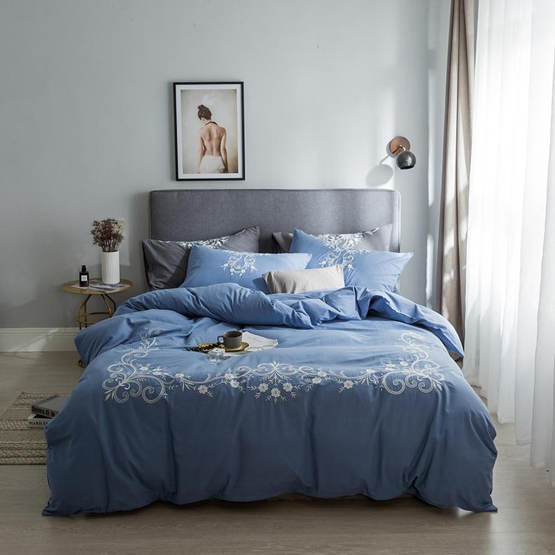 Parure de lit coton blanc gris bleu couvre lit Queen King size parure de lit parure de couette housse de couette ropa de cama linge de lit-in Ensembles de literie from Maison & Animalerie    3