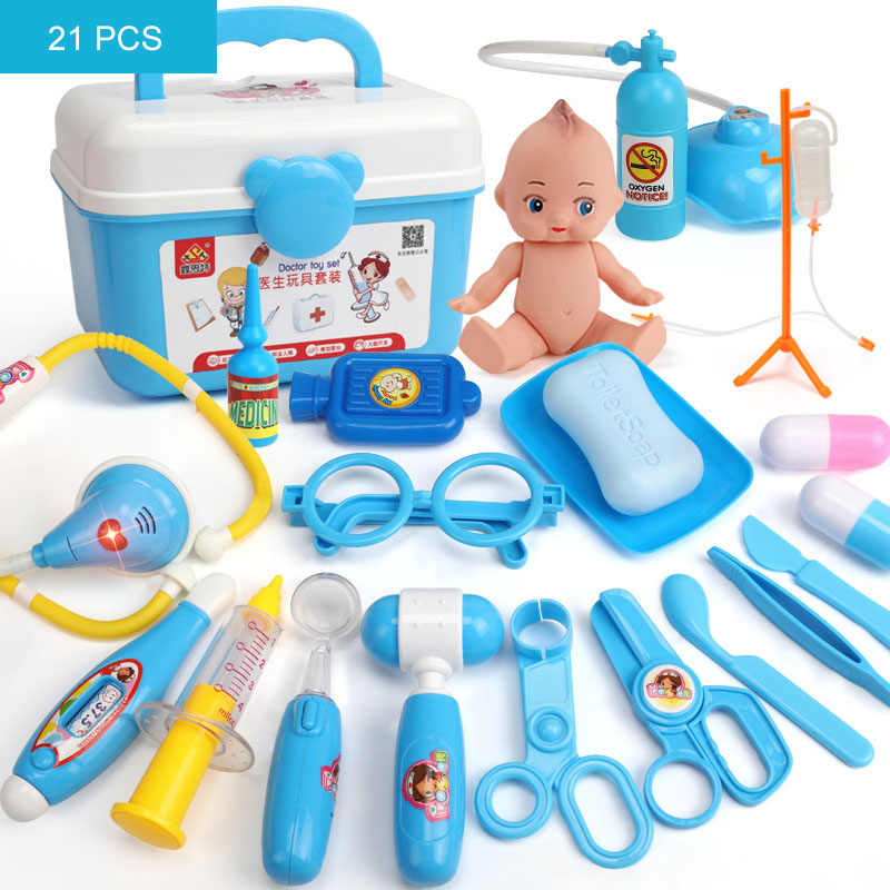 790b9bcbf ... 39/21PCS Kids Play Doctor Game Toys Set Children Cosplay Doctors Vocal  Light Stethoscope Toy ...
