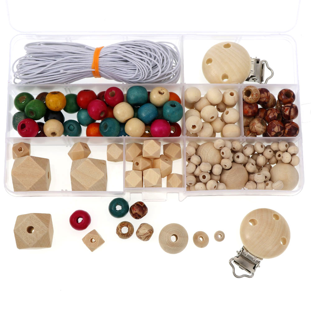 1Box Teether Beads Set Making Necklace Pacifier Clip Kits Box Original Wood Beads Kids Teething Toy DIY Jewelry Set