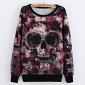 2015 New Trendy Skull Sweatshirt Harajuku Style Long Sleeve Pullover Sweat Shirts Tops Women Fashionable Pull Femme Star Hoodie