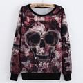 2015 New Trendy Skull Sweatshirt Harajuku Style Long Sleeve Pullover Sweat Shirts Tops Women Fashionable Pull Femme Star Hoodie
