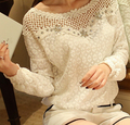 2015 New Women Fashion White Lace Blouse Sexy Lace Floral Chiffon Long Sleeve Summer Tops Shirts Casual Blouse Camisas Blusinha