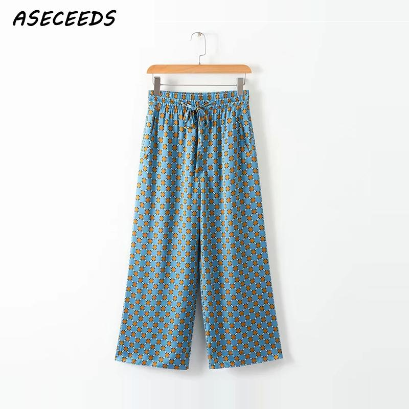 Summer boho   wide     leg     pants   women polka dots high wasit   pants   Casual loose Beach   pants   female blue Elasticity waist long trouser