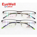 Metal half rim optical frame with new style spring hinge unisex fashion light Alloy eyeglasses for businessmen IP9011