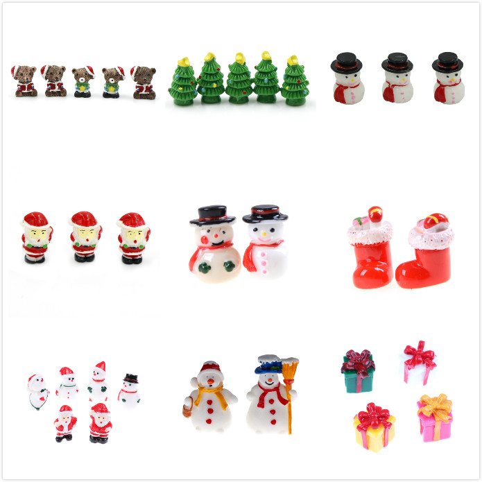 1/2/3/5 Pieces Miniatures Merry Christmas Day Gift Present Box Santa Claus Snowman Desk Small Statue Figurine Crafts Ornament