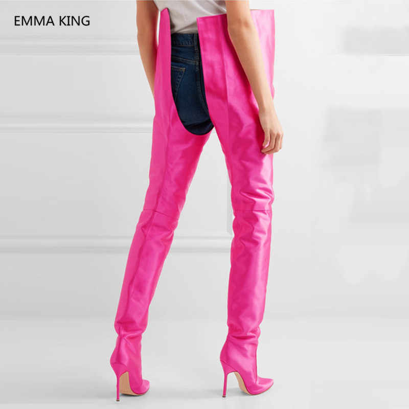0970ca4e0ce ... Street Runway Fluorescent Orange High Waist Over The Knee Boots Women  Sexy Satin Popular Trendy Thigh ...