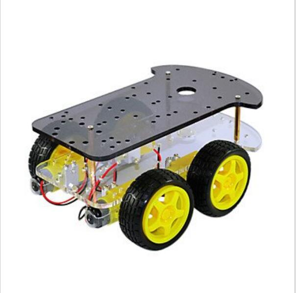 4WD Smart Car Robot Chassis for uno with 4pcs Gear Motor+4pcs Tire Wheel acrylic intelligent 2wd tracking robot smart car 2 wheel drive chassis with 2ps 25 type gear motor wheel diameter 65mm