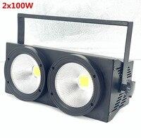 Novo 2 olhos 2x100w led branco quente 3200 k 200 w led audiência luz dmx led cob 200 led strobe dj luz lavagem feixe efeitos de palco