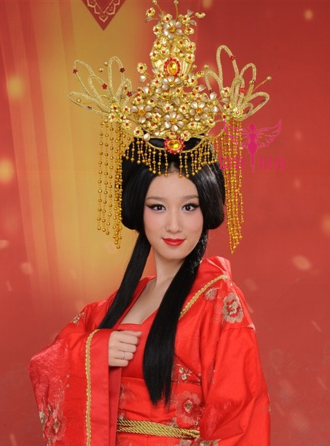 Exquisite handmade women's married the bride coronet classical hanfu cos tang suit hair accessory beautiful hair tiaras 00009 red gold bride wedding hair tiaras ancient chinese empress hair piece