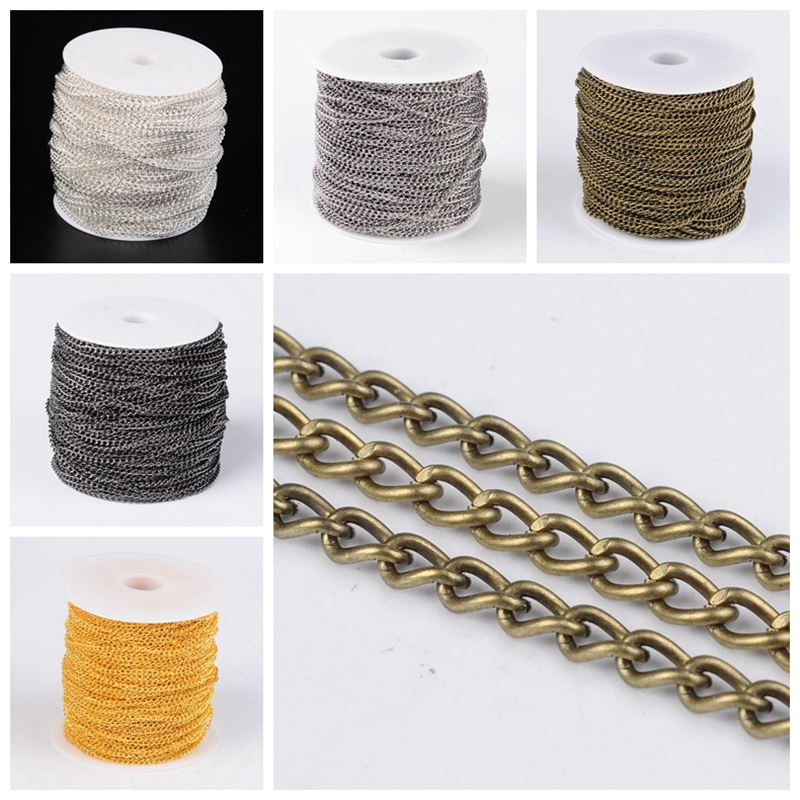100M Gold//Silver Plated Open Link Iron Metal Cable Chain For Jewelry Making DIY