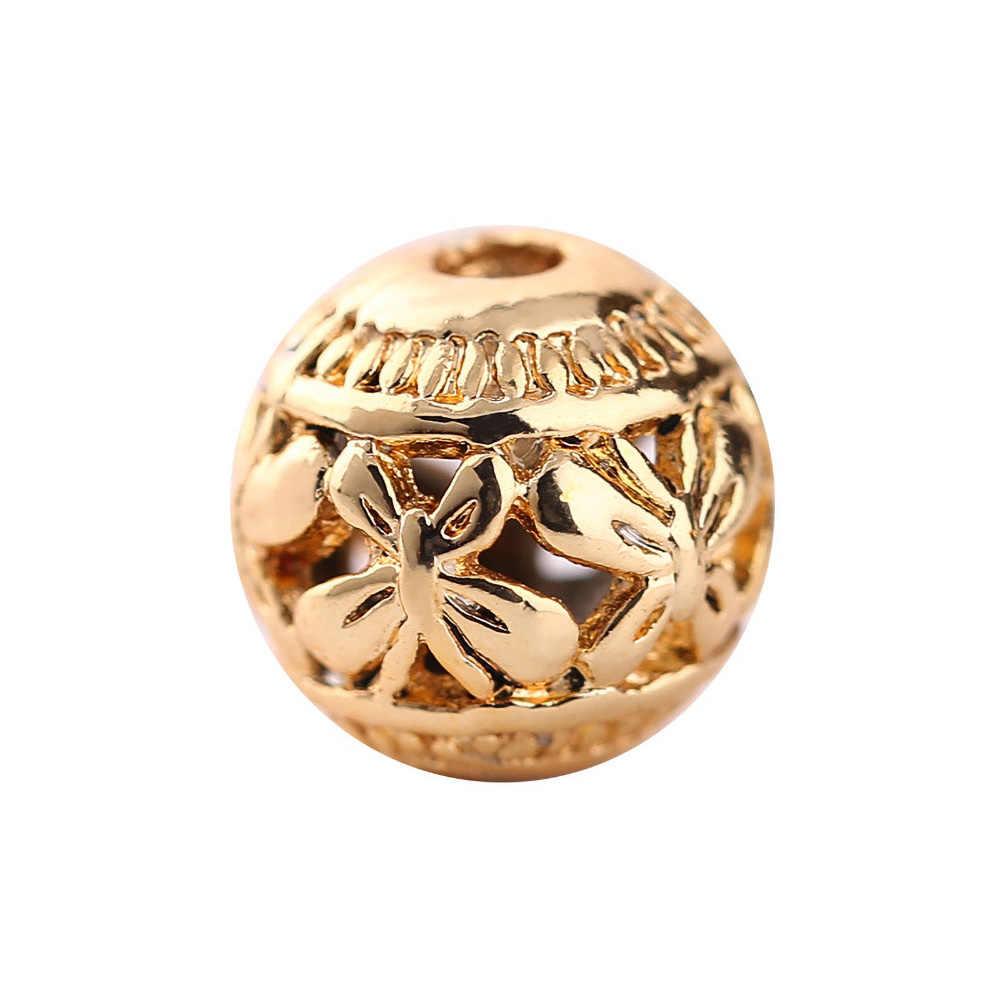 10 stücke 8mm Vergoldung Kupfer Hohle Runde Schmetterling Form Charms Für DIY Schmuck Machen Armband Zubehör 27076
