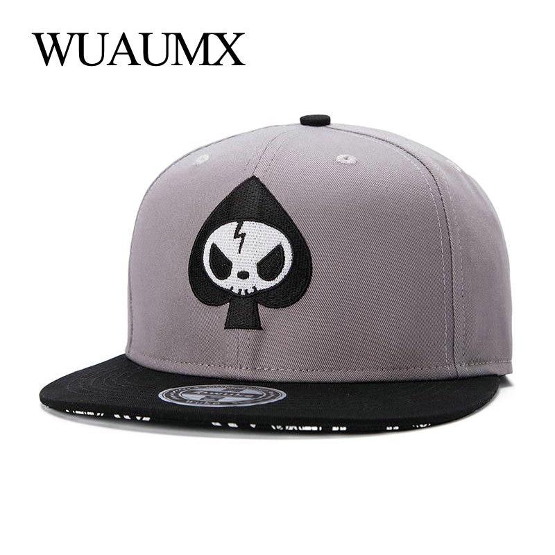 Wuaumx Fashion 5 Panel Bone Snapback Cap For Men Women Spades Casual Hip Hop Baseball Caps Flat Brim Skateboard Hat Casquette