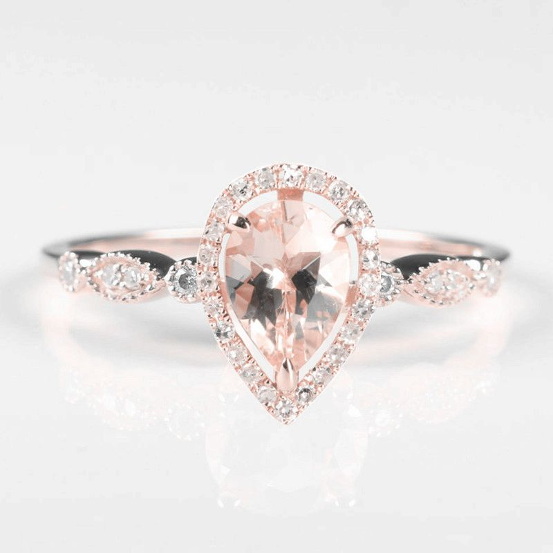 Vintage 5x7mm Pear Cut Natural Morganite Diamonds Engagement Ring Solid 14K Rose Gold solid 14k white gold rose gold natural diamonds 5x7mm pear morganite ring wedding engagement fine jewelry