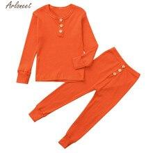 Одежда arloneet; однотонные пижамы с длинными рукавами для маленьких девочек и мальчиков; коллекция года; Детские Теплые повседневные хлопковые топы; пижамы; комплект одежды