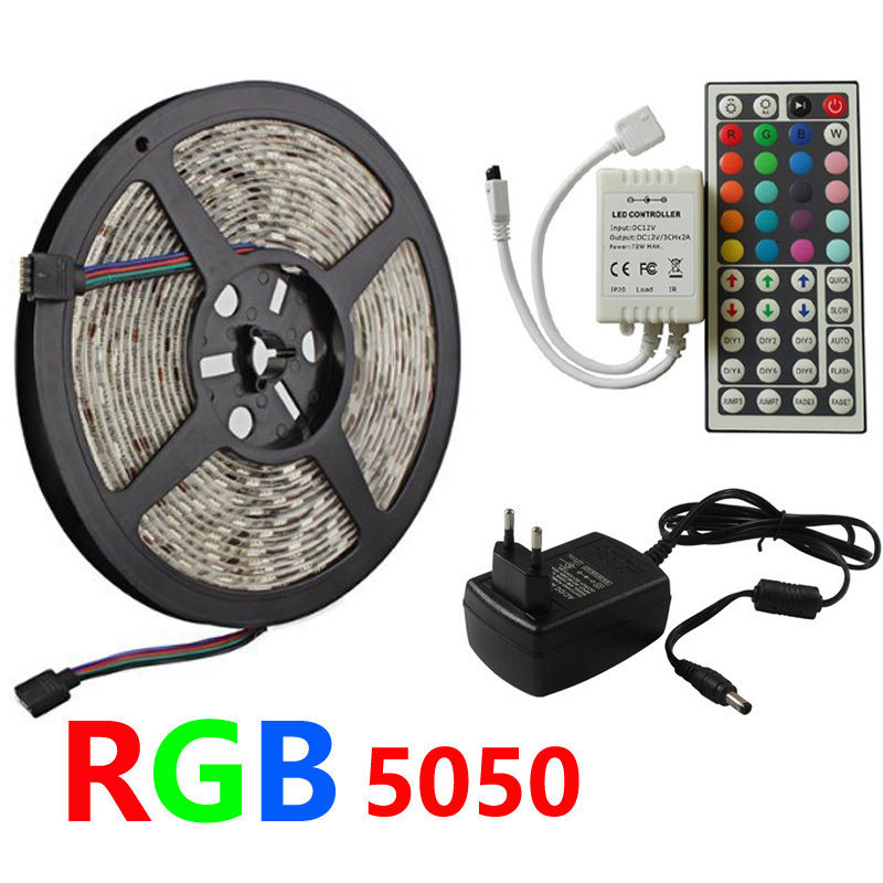 цены SMD 5050 RGB LED Strip Light Silicon Waterproof 300 LEDs 5M Flexible Tape Kit +IR Remote Controller+DC12V Power Supply Adapter