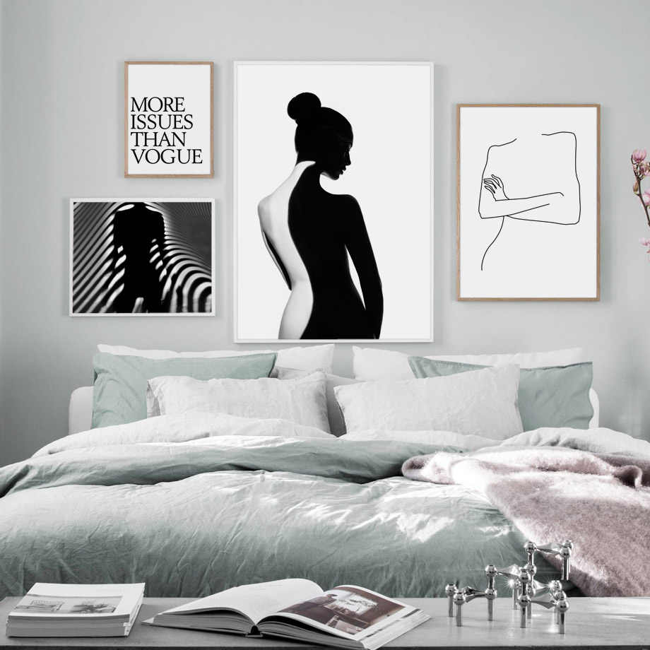 Vogue Abstract Girl Quote Nordic Posters And Prints Wall Art Canvas Painting BlackWhite Wall Pictures For Living Room Wall Decor
