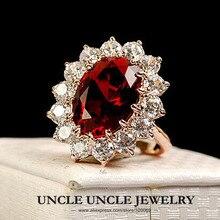 Diseño clásico de La Familia Real!!! Chapado En Oro rosa de Cristal Austriaco Rojo Princesa Señora Wholesale Del Anillo de Dedo