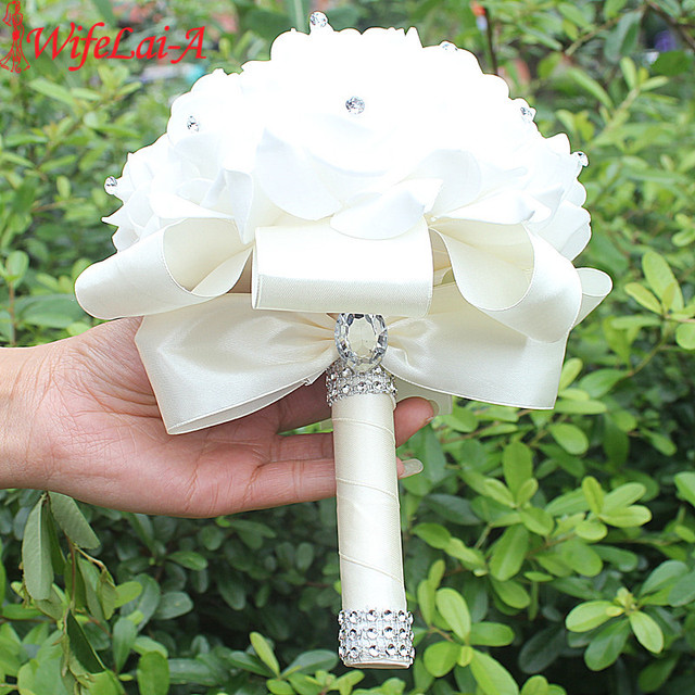 IN STOCK Cheapest PE Rose Bridesmaid Wedding Foam flowers Rose Bridal bouquet Ribbon Fake Wedding bouquet de noiva 14 Color 1