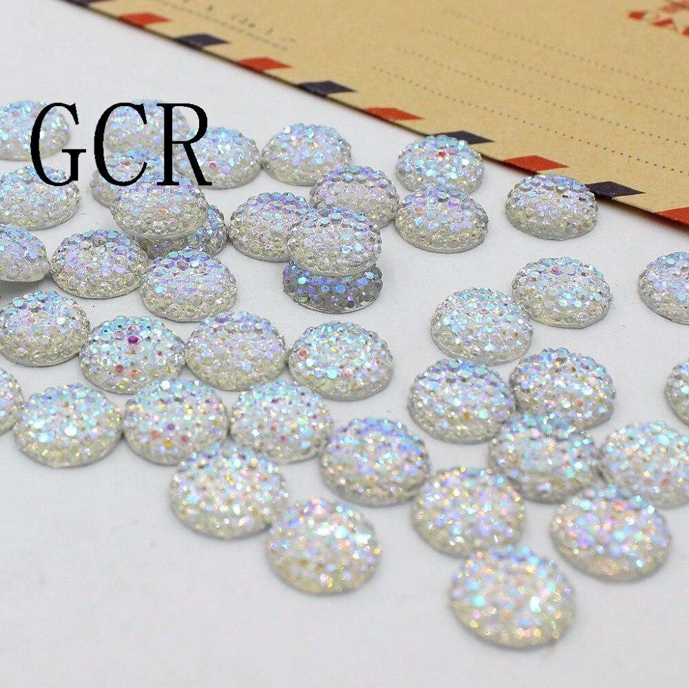 Crystal AB 10 мм 50 шт./лот/, круглые стразы, кабошон, плоская задняя смола, стразы для украшения своими руками