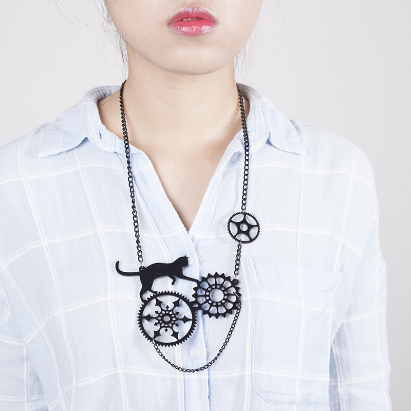 Acrylic Jewelry Playful steampunk cat necklace аксессуар защитное стекло для sony xperia xa1 plus brosco full screen black xa1p glass black