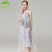2017 summer vest dresses Women 100% silk sweet lady dress liquid flower O neck elegant fashion femme casual dress plus size XXL