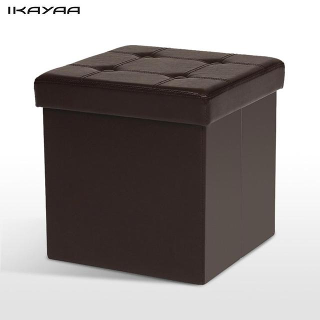 ikayaa uk stock excellent pu leather folding storage ottoman cube foot stool seat footrest foldable storage - Storage Ottoman Cube