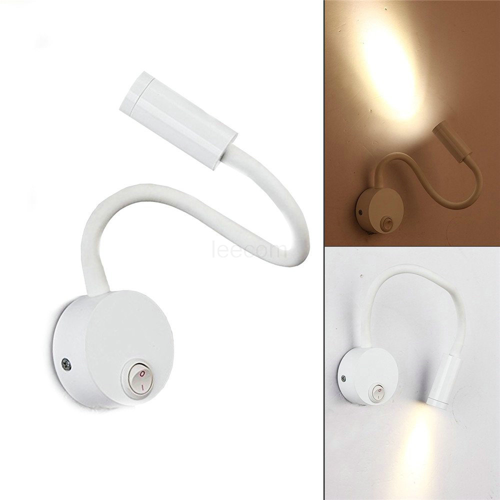 LED Gooseneck Flexible Reading Light 5W Warm White Badside Lamp with On Off Switch Modern Aluminum Mount Wall Lamp Eyecare Arm L in LED Indoor Wall Lamps from Lights Lighting
