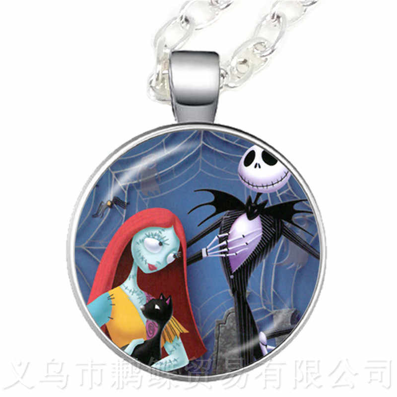 2018 Nightmare Before Christmas Jack Skellington And Sally 25mm Glass Cabochon Classic Necklace For Halloween Sweater chain Gift