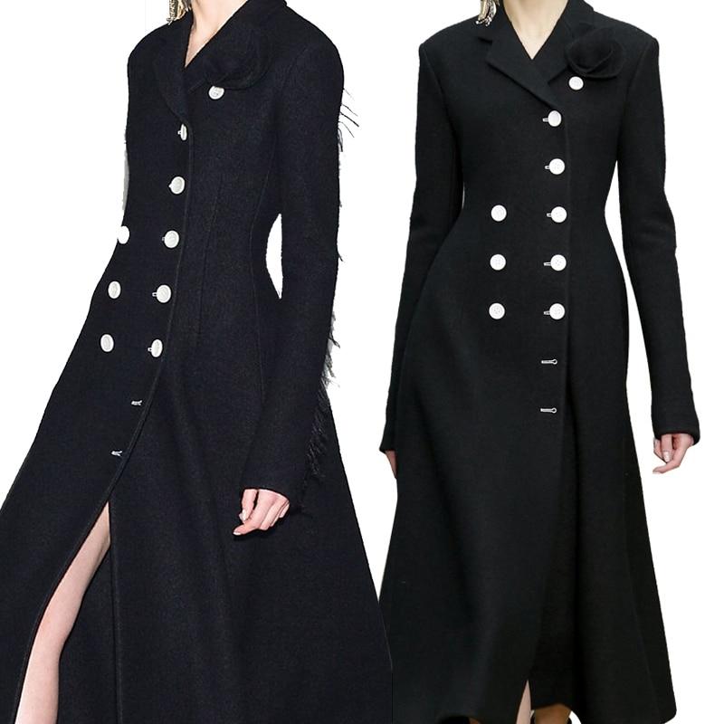 Élégant Femmes Femme Slim Manteaux Outwears De Laine À Bouton Marque Noir Haoduoyi Manches Élégante Avant Hdy Blazer Longues nxq6HT1wIH