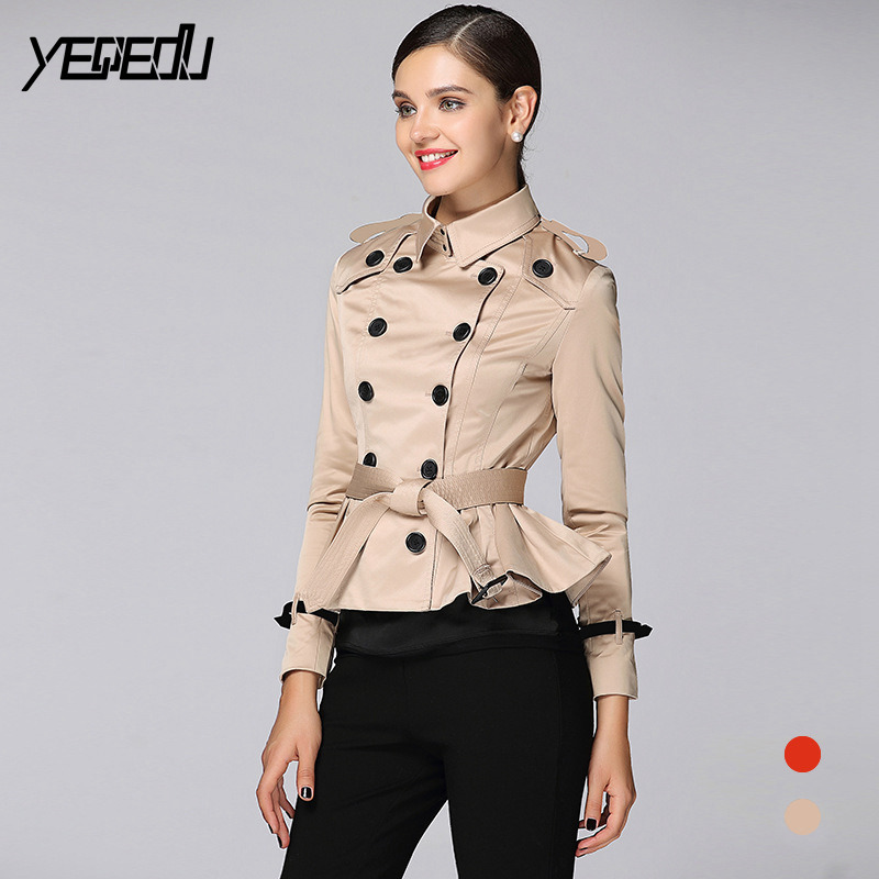 #3304 Khaki Orange Double Breasted Adjustable Waist Short Treach Coat For Women Lotus Leaf Elegant Fashion High Quality Tide
