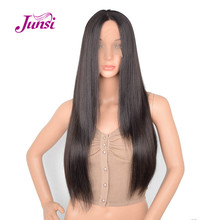 Long Straight Natural Black Wig Lace Front Synthetic Wigs for Women Black Color Heat Resistant Hair 24 Inches