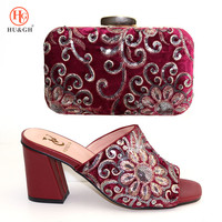2019 New Matching Italian Shoe and Bag Set Italian Wine Red Color Nigerian High Heels Slipper and Matching Bag set Women Wedding