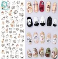 Rocooart DS373-384 Water Transfer Nails Art Sticker Harajuku Element Cats Kitty Caterpillar Nail Wrap Sticker sticker