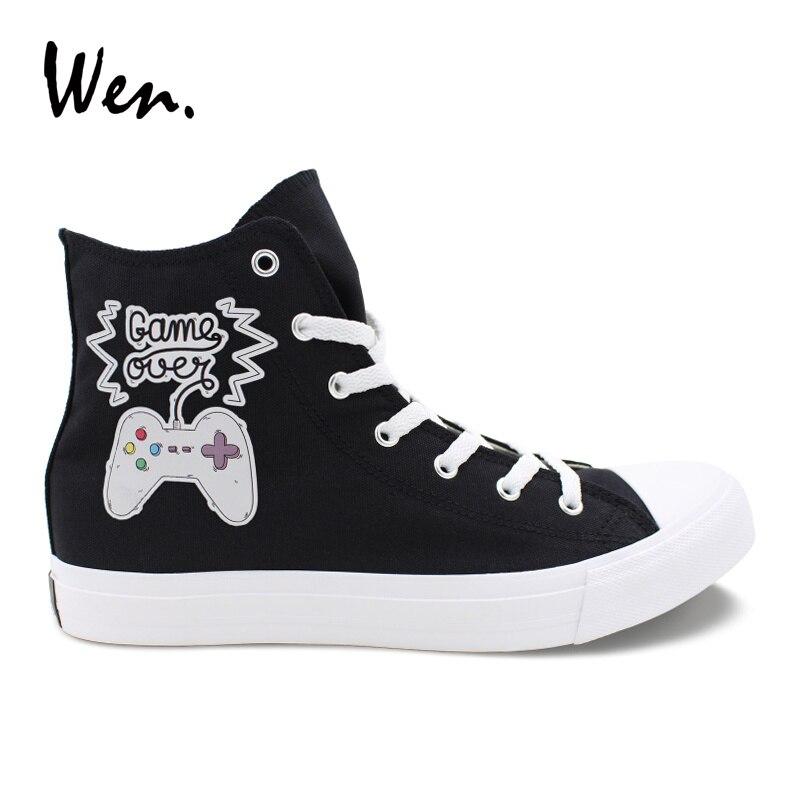 Wen Conception Originale GAME OVER Jeu Joypad Casual Vulcanisé Chaussures Hommes Noir Toile Haute Blanc Sneakers Unisexe Plat Tennis