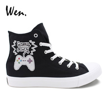 Wen Original Design GAME OVER Game Joypad Casual Vulcanized Shoes Men Black Canvas High White Sneakers Unisex Flat Plimsolls