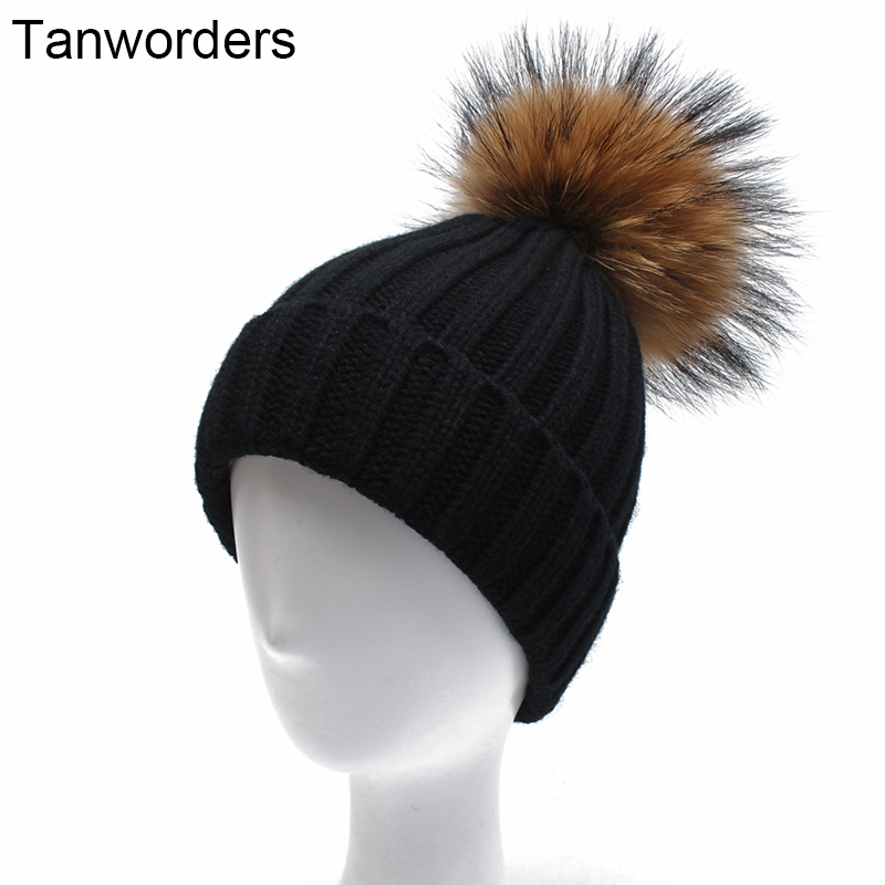 Women Winter Hats With Real Raccoon Pompoms Female Autumn Thick Warm Knitted Beanies Hat For Girls Mask Cap 2017 new fashion autumn and winter wool leaves hollow out knitting hat thick female cap hats for girls women s hats female cap
