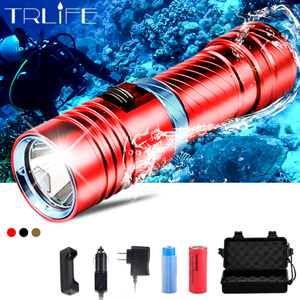Dive 100 Meter L2 18650 26650 Diving LED Flashlight Waterproof Underwater Camping Lanterna Torch Lamp Stepless Dimming