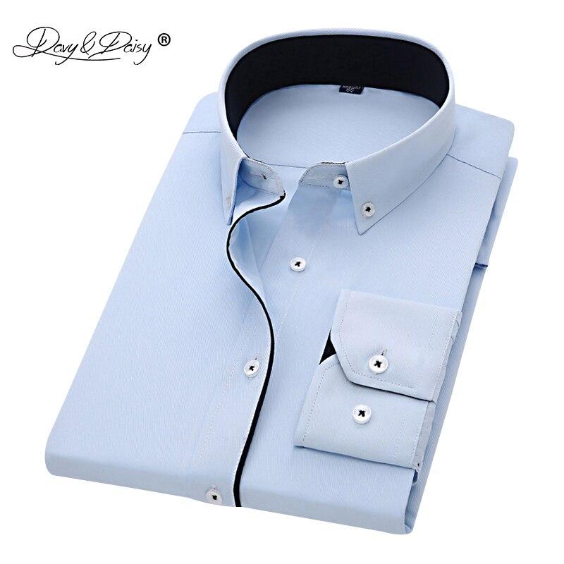 DAVYDAISY 2019 New Arrival Men Shirt Long Sleeve Twill Solid Striped Dress Business Shirt Slim Fit Man Dress Shirts DS258