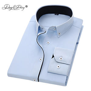 DAVYDAISY Men Shirt Dress Slim-Fit Long-Sleeve Striped Solid New-Arrival Twill DS258