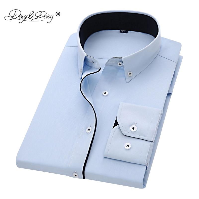DAVYDAISY 2020 New Arrival Men Shirt Long Sleeve Twill Solid Striped Dress Business Shirt Slim Fit Man Dress Shirts DS258