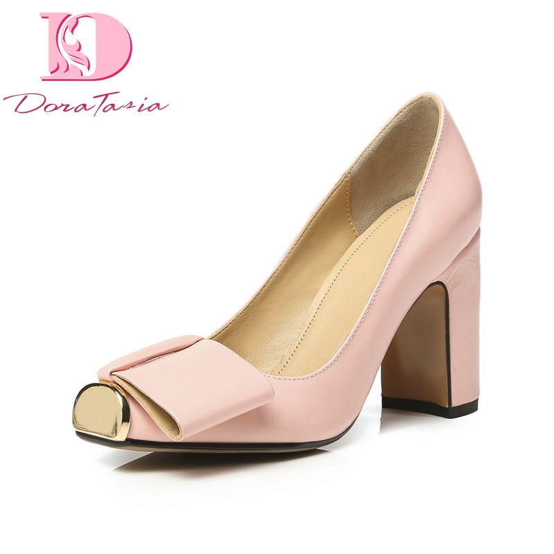Doratasia New Fashion Genuine Leather Square High Heels Square Toe Solid Bowtie Shoes Woman Sexy Spring Pumps Big Size 33-43
