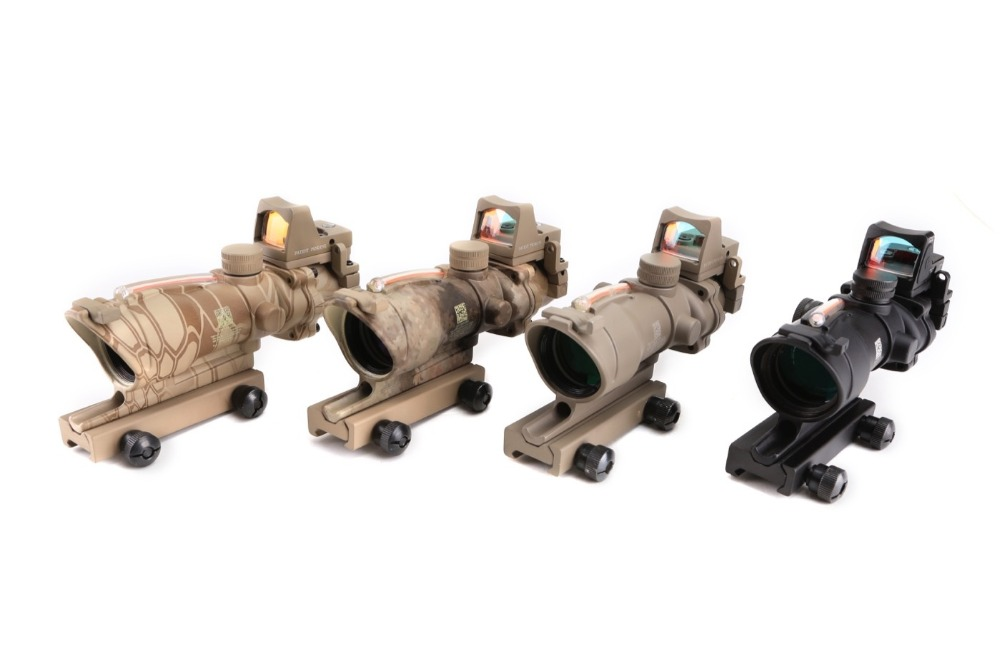 Magorui Tactical Hunting ACOG 4X32 Red Dot Sight Scope Real Red Fiber Source Illuminated Optic Sight trijicon acog 4x32 red dot sight scope tactical hunting scopes real green red fiber riflescope optics for rifles