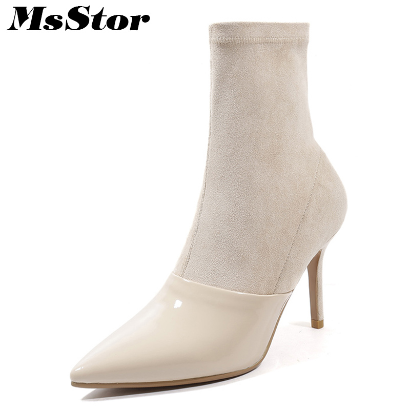 Msstor Pointed Toe Black Khaki Women Boots Fashion Elegant Thin heels Ankle Boots Women Shoes Super High Heel Boots Shoes Woman ouqinvshen pointed toe thin heels women boots ladies super high heels ankle boots casual fashion butterfly knot women s boots
