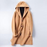 Осень и зима Для мужчин с капюшоном Длинные куртки высокое качество Для мужчин Шерсть и смеси пальто Для мужчин тонкий элегантный комфорт Т