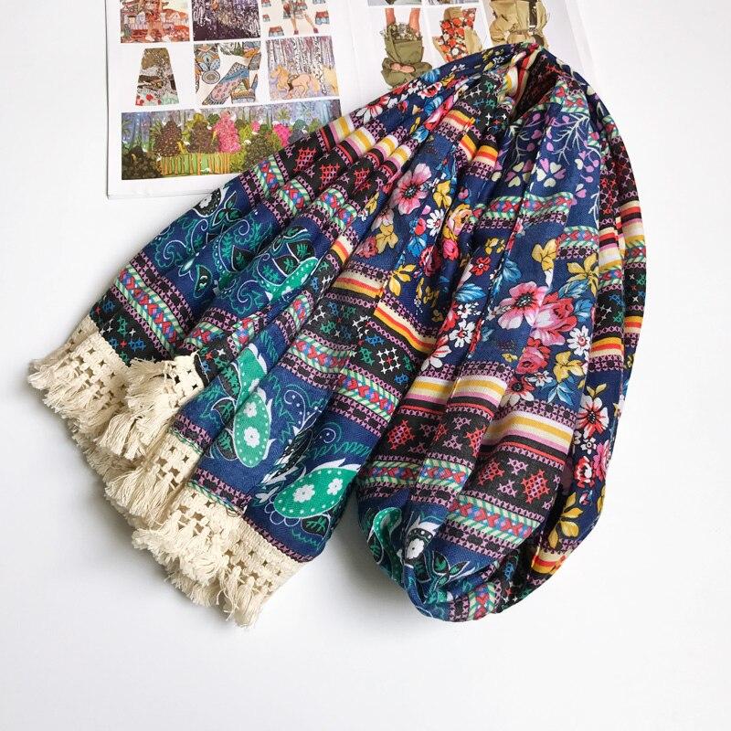 Women Ancient Floral Cotton Scarf Ethnic