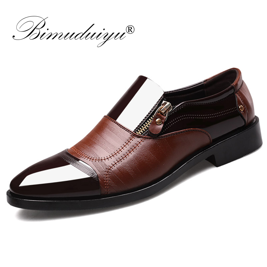 BIMUDUIYU Fashion Oxford Business Men Shoes Soft Breathable Men Formal Shoes Pointed Toe Luxury brand PU Leather Oxford Shoes brand designer caving men flats outer soles metallic toe leather shoes fashion pointed toe oxford ancient style men shoes