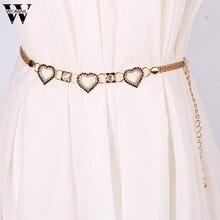 Lady Fashion Rhinestone Heart Shape Metal Waist Chain Belts for Women  ceinture femme Amazing A25( 5889e127017b