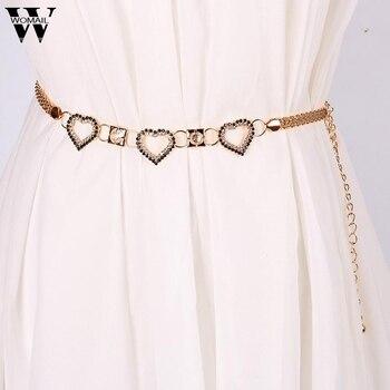 Lady Fashion Rhinestone Heart Shape Metal Waist Chain Belts for Women ceinture femme Amazing A25