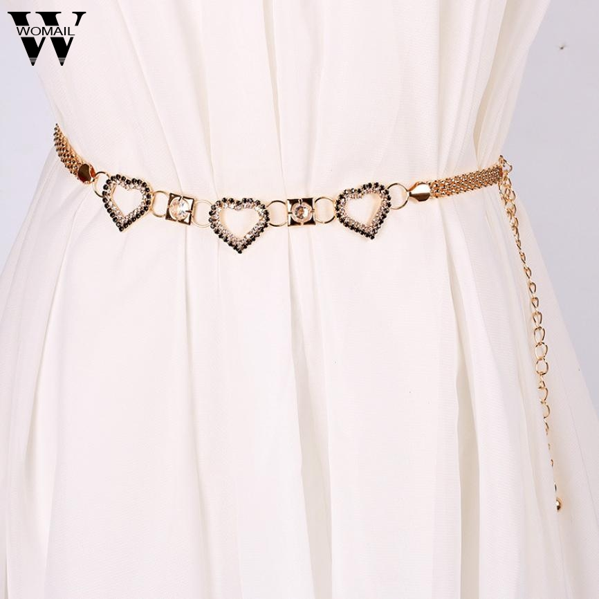 Lady Fashion Rhinestone Heart Shape Metal Waist Chain   Belts   for Women ceinture femme Amazing A25