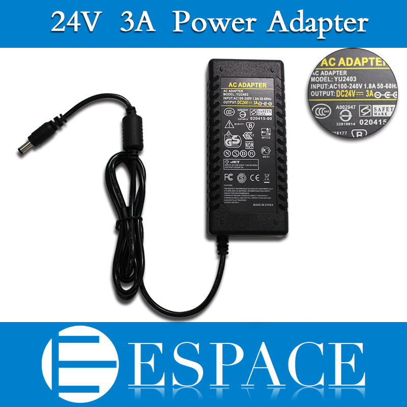20piece/lot 72W <font><b>24V</b></font> 3A Power Supply <font><b>AC</b></font> 100-240V to DC <font><b>Adapter</b></font> For 3528 5050 Strip LED with US/EU/UK plug good quality image